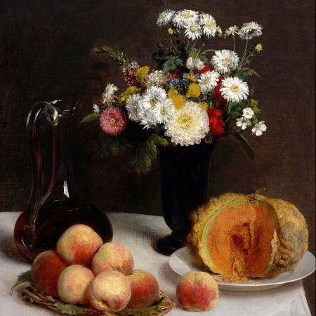 Νεκρή φύση με καράφα, λουλούδια και φρούτα, Henri Fantin-Latour