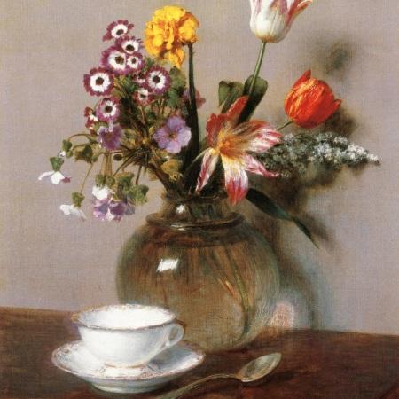 Βάζο λουλούδια με μία κούπα καφέ, Henri Fantin-Latour